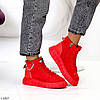 Яркие красные комбинированные полу спортивные женские зимние ботинки, фото 4