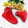 Яркие красные комбинированные полу спортивные женские зимние ботинки, фото 3