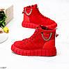 Яркие красные комбинированные полу спортивные женские зимние ботинки, фото 5