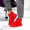 Яркие красные комбинированные полу спортивные женские зимние ботинки, фото 7