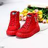 Яркие красные комбинированные полу спортивные женские зимние ботинки, фото 9