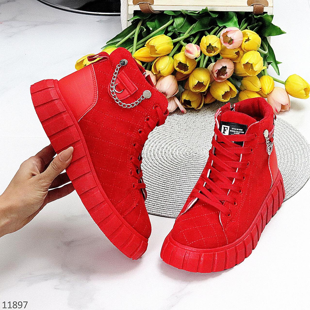 Яркие красные комбинированные полу спортивные женские зимние ботинки