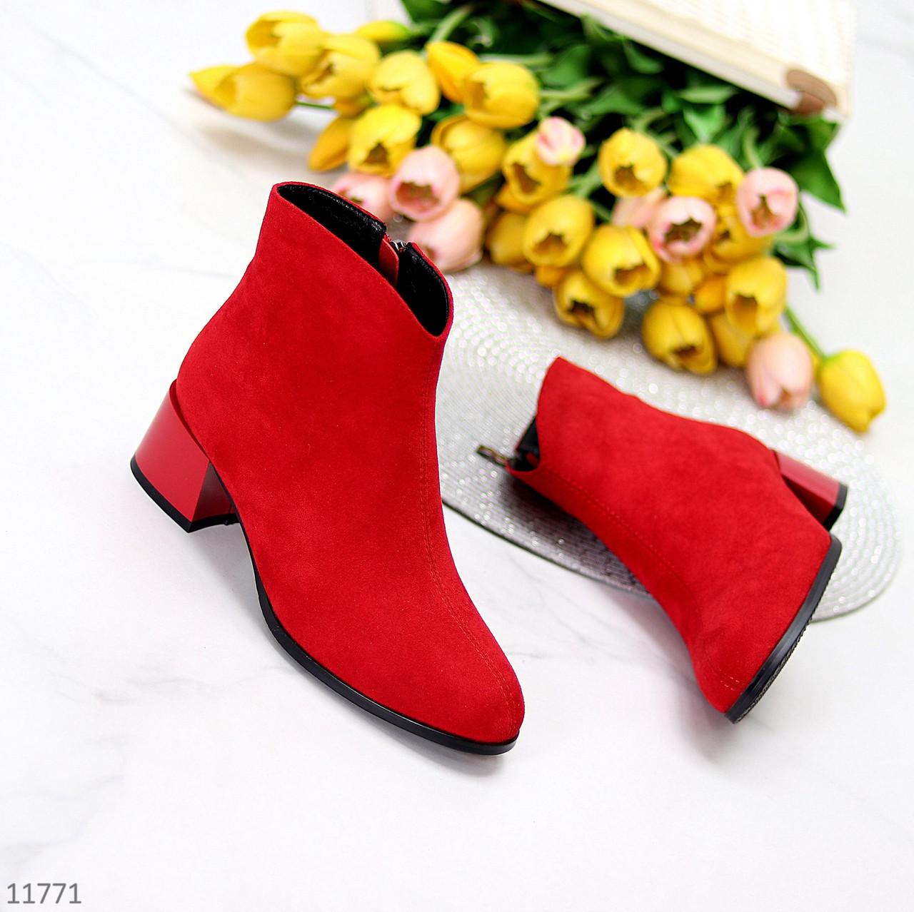 Яркие лаконичные замшевые женские ботинки ботильоны удобный каблук