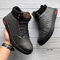 Чёрные кожаные мужские зимние ботинки WEI FANG   эко кожа + мех + резина