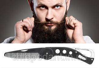 Гребінець чоловіча для волосся, бороди, вусів складна кишенькова з карабіном Код 10-3060