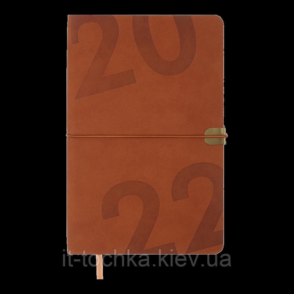 Еженедельник датированный А5 buromax 2022 год best Светло-Коричневая Эко-Кожа (bm.2704-18)
