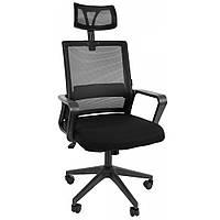 Офисное кресло операторское для персонала Bonro 8330 с системой качания подголовником кресло для офиса черное