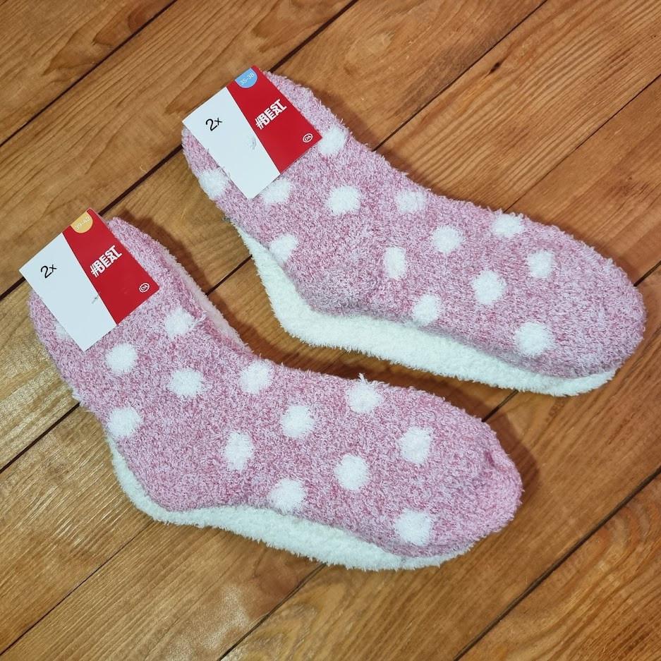 Теплі жіночі шкарпетки C&A, набір з 2 штук, розмір 39-42, колір рожевий, молочний