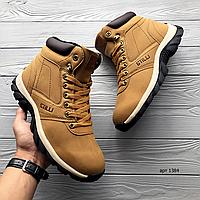 Мужские кожаные зимние ботинки Stilli   эко нубук + мех + резина