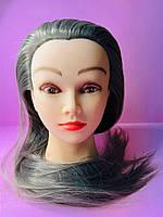 Учебный манекен для парикмахера 30% натуральных волос, темно-седая
