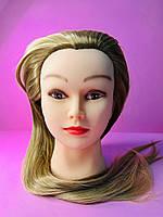 Учебный манекен для парикмахера 30% натуральных волос, золотистый блонд