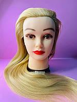 Учебный манекен для парикмахера 30% натуральных волос,  блонд с эффетом гофре