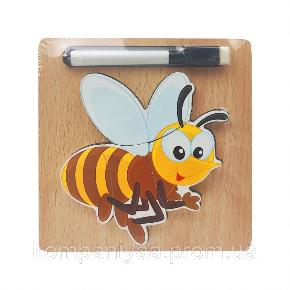 Дерев'яна іграшка Пазли MD 2525 маркер, дощечка для малювання (Оса)