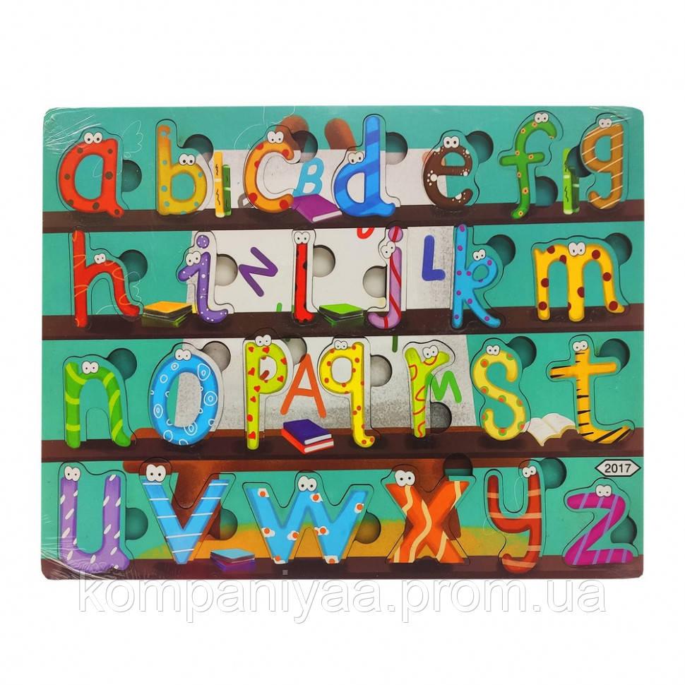 Деревянная игрушка Пазлы MD 2561-2001/24, 30*22 см  (Английский алфавит с глазками)