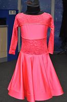 """Платье-бейсик для спортивно - бальных танцев,(рукав 3/4) """"14а Коралл"""""""