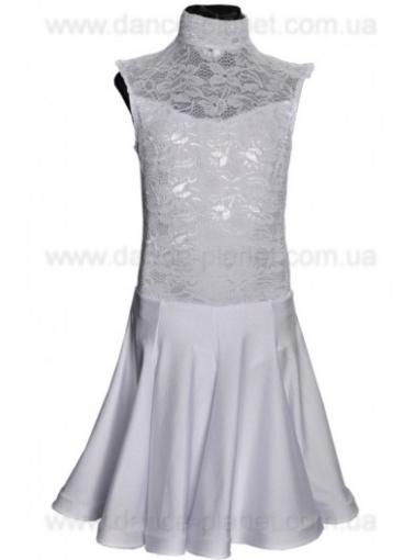 """Сукня-бейсік для спортивно - бальних танців """"02 Білий"""""""