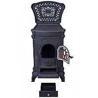 Камин печь отопительная буржуйка на дровах Bonro чугунная 9 кВт с варочной поверхностью для дома и дачи черная