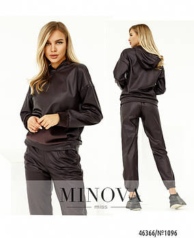 Стильный прогулочный костюм из эко-кожи на меху с брюками-джогерами с 42 по 48 размер
