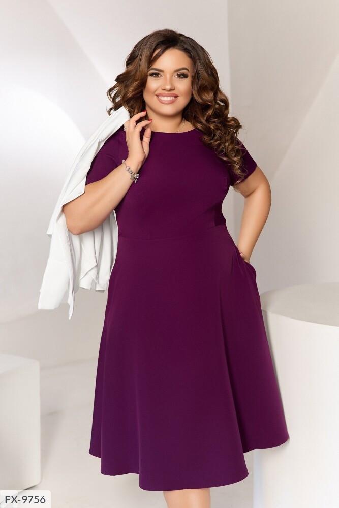 Однотонне приталене розкльошені сукні з коротким рукавом з кишенями + жакет р:50,52,54,56 арт. 209