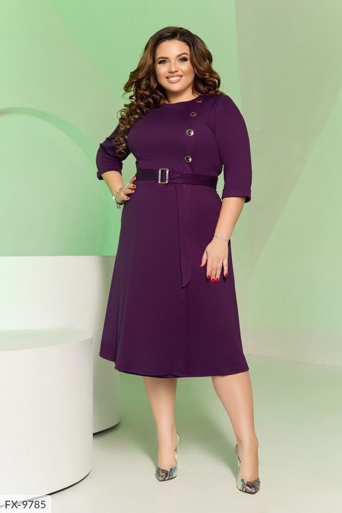 Сдержанное однотонное платье под пояс прилегающее сверху расклешенное к низу Размер: 50, 52, 54, 56 арт. 148