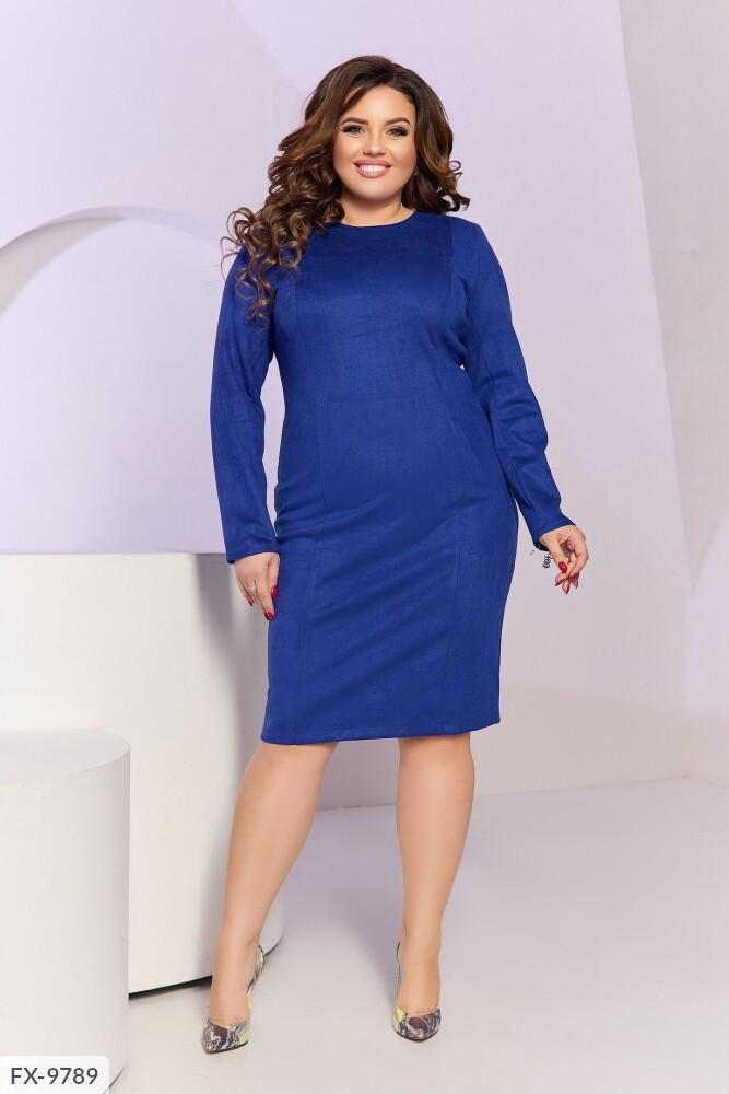 Круте однотонне замшеве плаття напівприлягаючого силуету з довгим рукавом Розмір: 50, 52, 54, 56 арт. 070