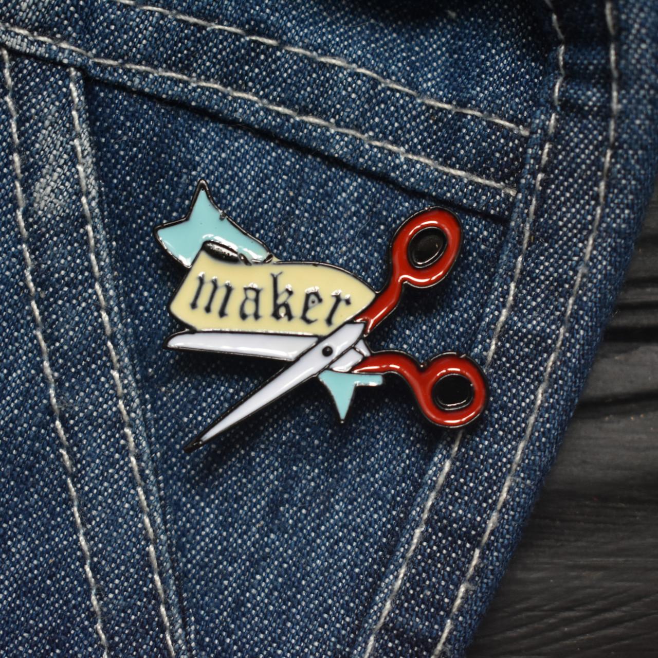 """Значок, брошь-значок, пин из металла на одежду, металлический значок """"Maker"""""""