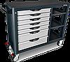 Тележка для инструмента (Pro-Plus) 7 секций + 4 открытые полки (серая) TOPTUL TCBH0703