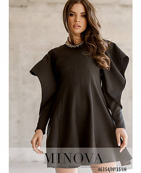 Однотонне плаття з об'ємними рукавами з розрізами з 42 по 48 розмір