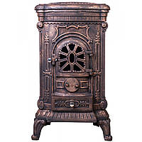 Камин печь отопительная буржуйка на дровах Bonro чугунная с варочной поверхностью для дома и дачи золотистая
