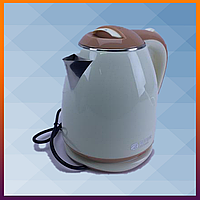 Електричний чайник з металевою колбою BITEK Бежевий, електрочайник для дому, чайники домашні побутові
