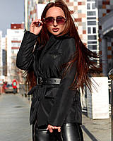 Жіноча стильна куртка з поясом під бренд