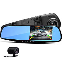 Автомобильный видеорегистратор зеркало для авто. 2 камеры!! VEHICLE BLACKBOX DVR 1080p камера заднего вида.