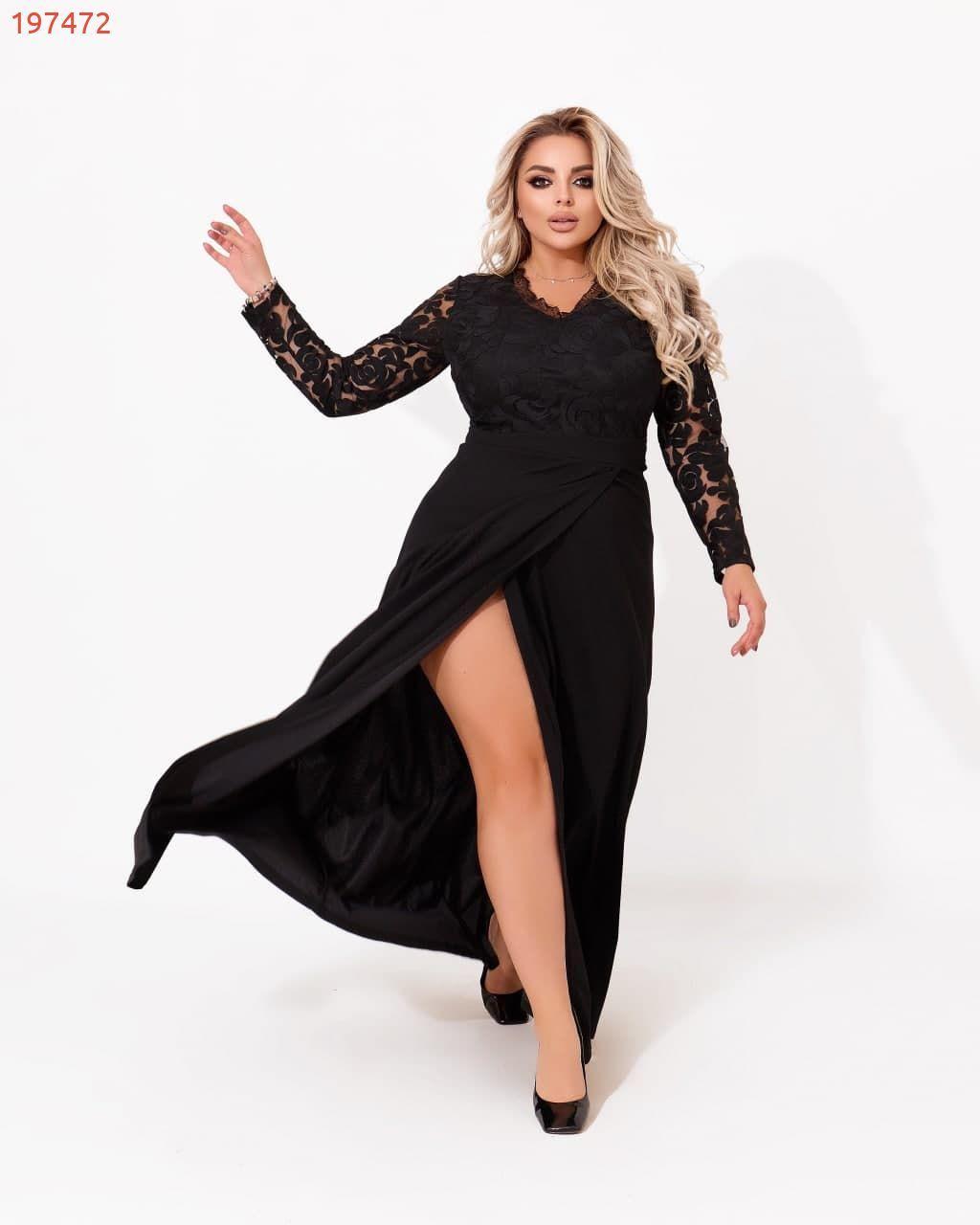 Р. 50-60 Женские вечернее платье макси с гипюровым верхом батал черного цвета