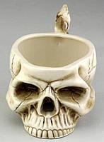 Кружка Череп з кістками бежева, фото 2