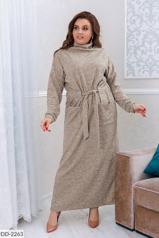 Теплое повседневное платье из ангоры длиной макси с горловиной хомутом р: 48-50, 52-54, 56-58, 60-62 арт. 3292