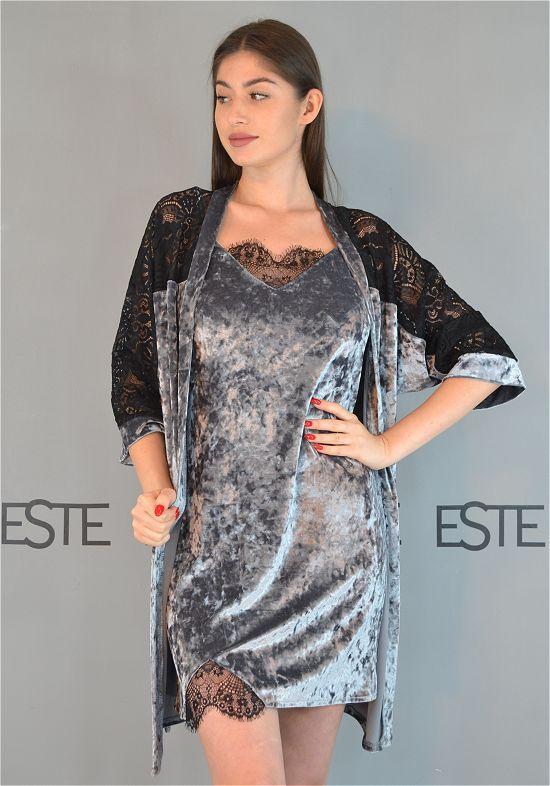 Комплект халат и ночная сорочка мраморный велюр с кружевом 313-302-1 серый.