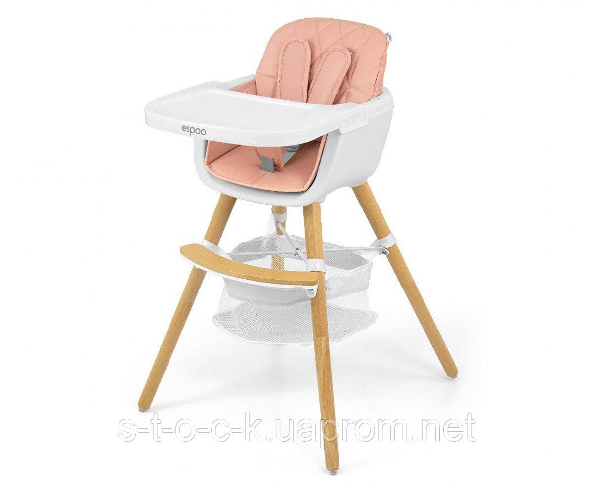 Сучасний і стильний стільчик для годування Espoo 2in1 від Milly Mally. Колір: Pink