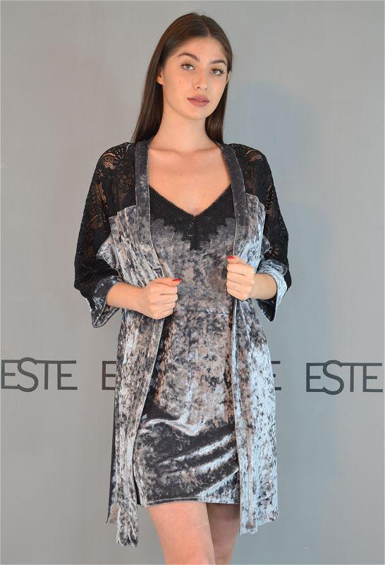 Комплект жіночий нічний халат і сорочка мармуровий велюр з мереживом 313-302 сірий