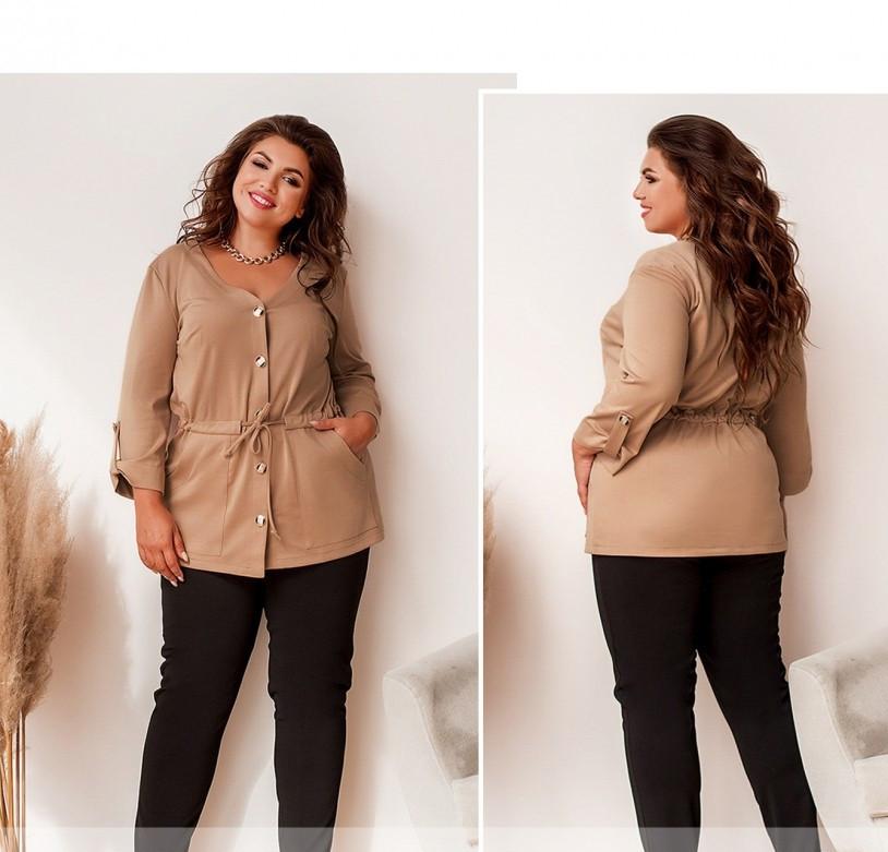 / Размер 50,52,54,56 / Женский костюм большого размера с блузой и брюками / 0146-Мокко