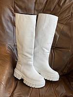 Сапоги-трубы женские кожаные белые зимние