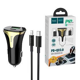 Автомобильное зарядное устройство HOCO Z31A PD+QC3 3A 1 Usb + кабель Type-C/Lightning Black