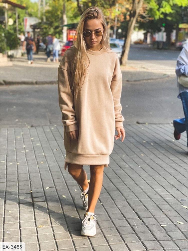 Жіноче видовжене худі oversize на флісі з манжетами, 48-50, хакі, меланж, бежевий (Батал)