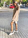 Жіноче видовжене худі oversize на флісі з манжетами, 48-50, хакі, меланж, бежевий (Батал), фото 2