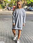 Жіноче видовжене худі oversize на флісі з манжетами, 48-50, хакі, меланж, бежевий (Батал), фото 5