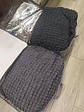 Покрывало Чехол Жатка на Угловой диван Антрацит универсальный натяжной с юбкой, фото 5