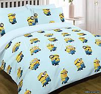 Детский полуторный постельный комплект белья Миньоны