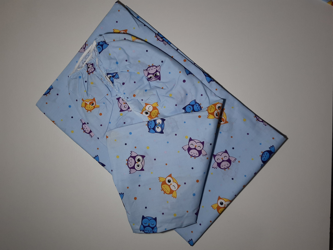 Сменный комплект детский рисунок голубой (совы)