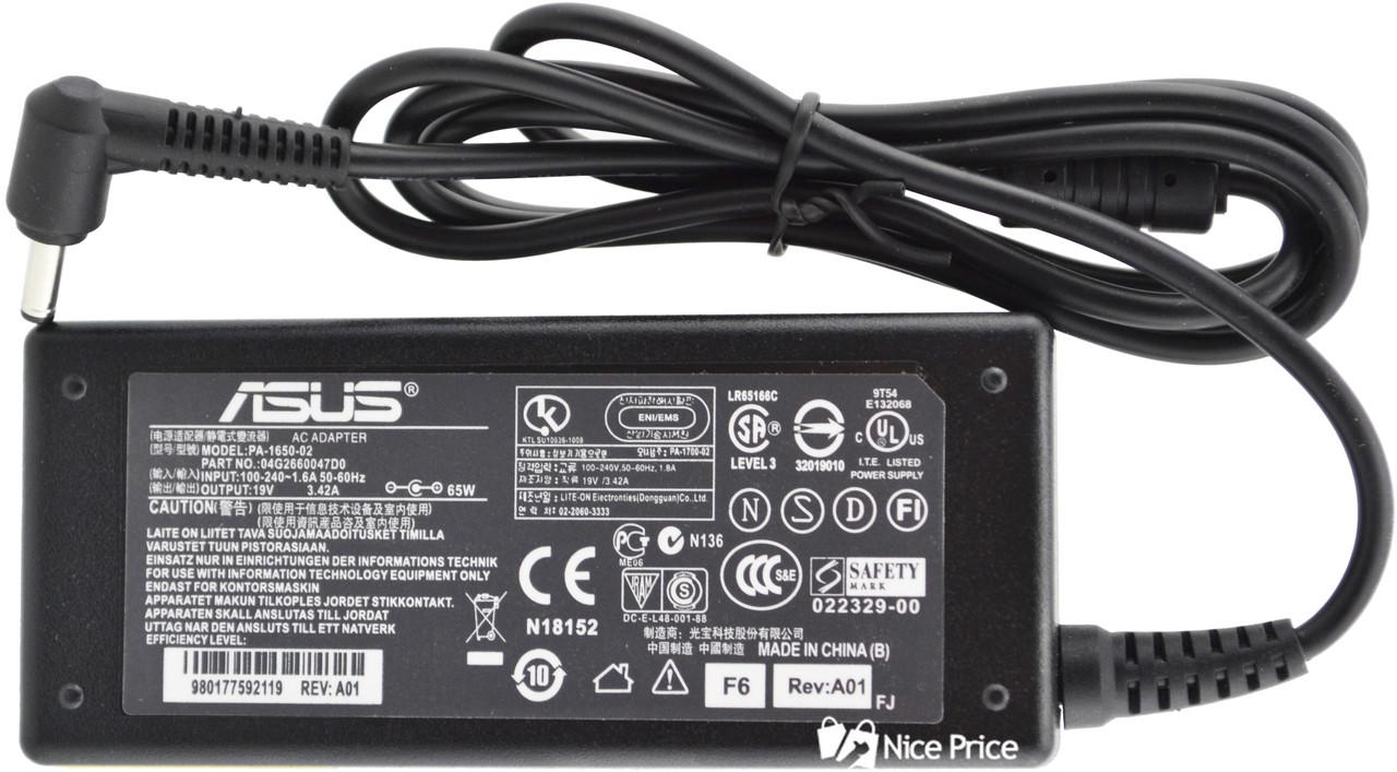 Блок живлення для ноутбука Asus 19V 3.42 A 65W 4.0x1.35 мм + кабель живлення (3086)