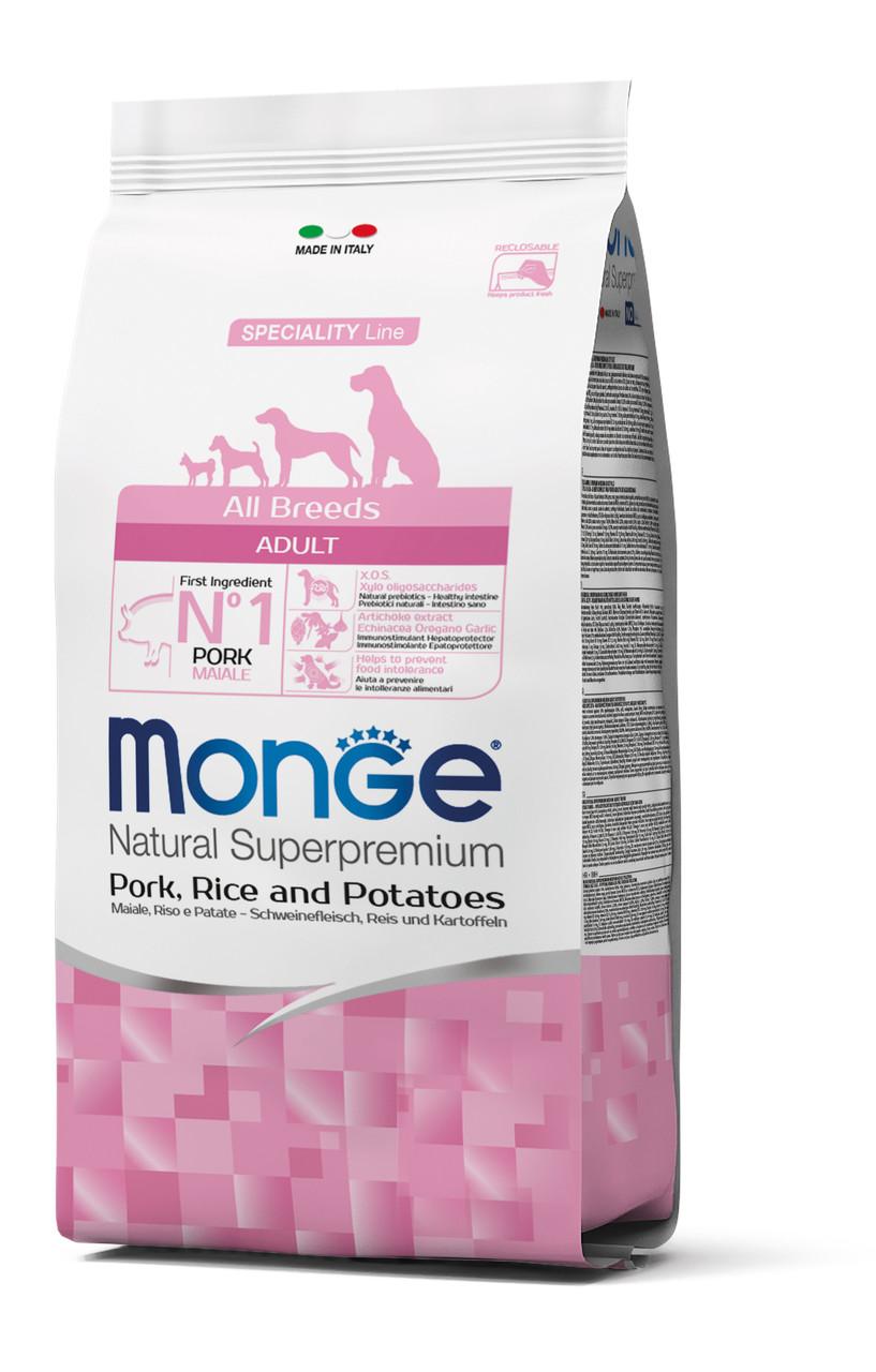 Сухий корм MONGE DOG All breeds Adult свинина, рис і картопля 2.5 КГ
