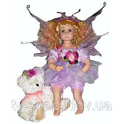 Порцелянова лялька Фея з ведмедиком (60 см)